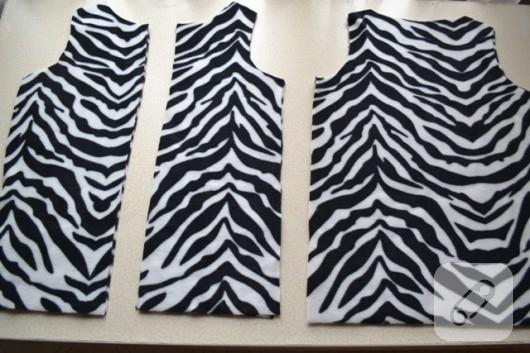 dikiş zebra desenli polar manto dikimi