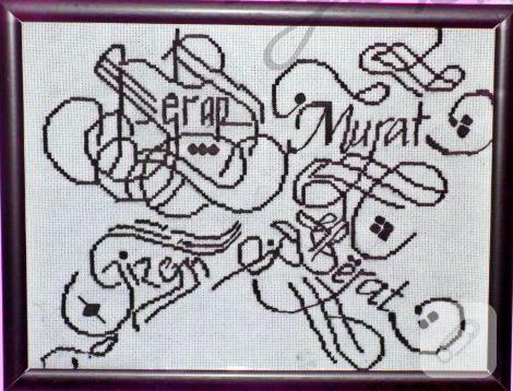 kaligrafi isim işlemeli etamin pano