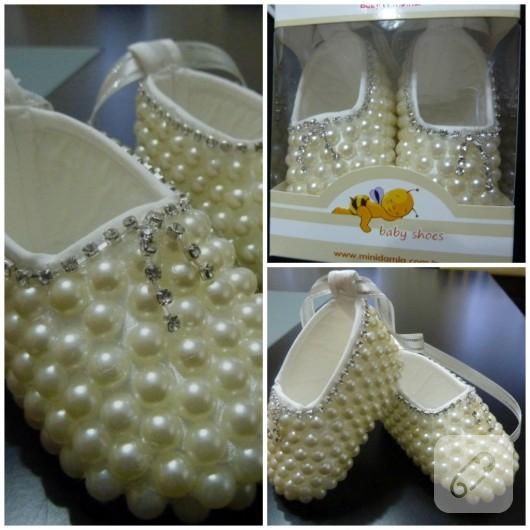 İnci süslemeli bebek ayakkabısı