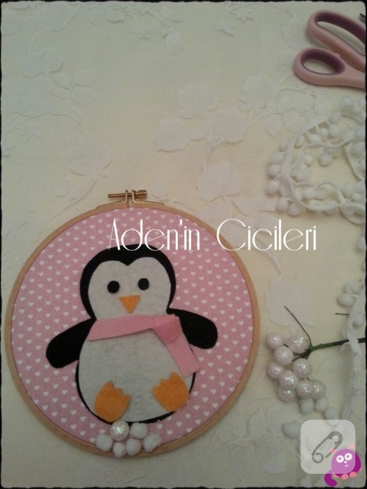 kumaş keçe penguenli pano yapımı