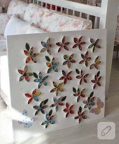 Kağıt rulolarından çiçekli duvar süsü