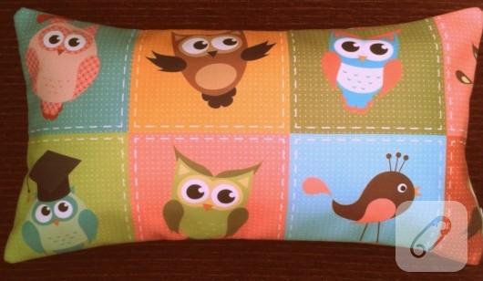 baykuş desenli yastık