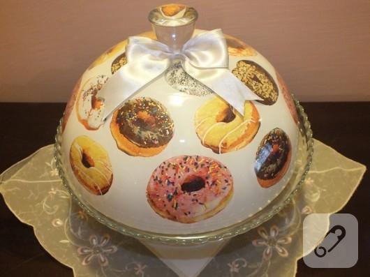 Donut dekupajlı kek fanusu