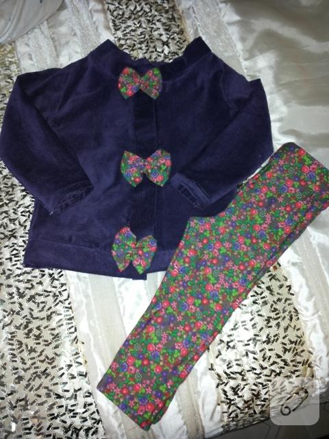 Mor ceket ve çiçekli tayt