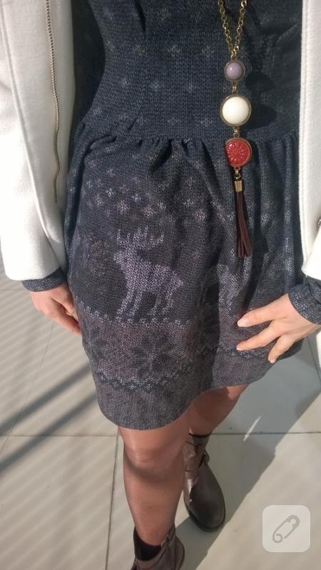 Geyikli desenli kloş elbise