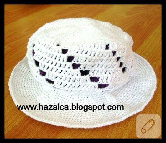 Tığ işi beyaz şapka