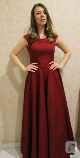 Bordo abiye elbise