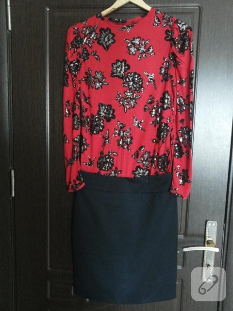 Kırmızı çiçekli bluz
