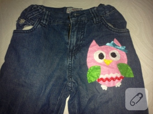 Baykuş aplikeli pantolon