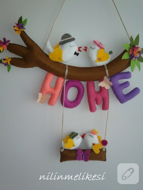kuşlu romantik keçe kapı süsü