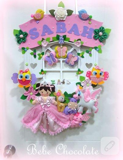 Keçe prensesli ahşap bebek kapı süsü