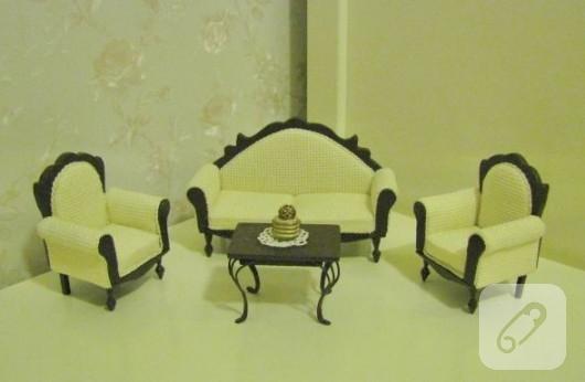 el yapımı klasik minyatür koltuk takımı