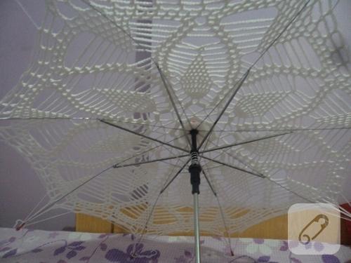 tığ işi beyaz gelin şemsiyesi yapımı