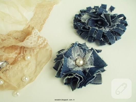 eski kot pantolon kumaşından dekoratif çiçek