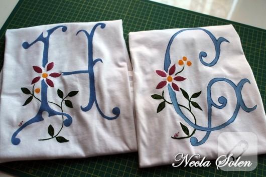 harfli çiçekli tişört boyama