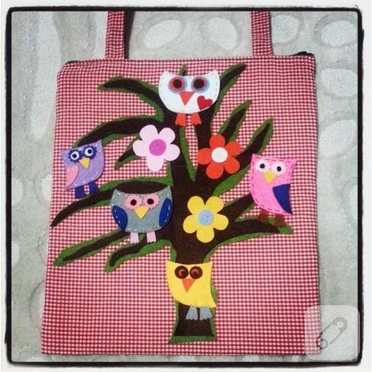Baykuş aplikeli çanta