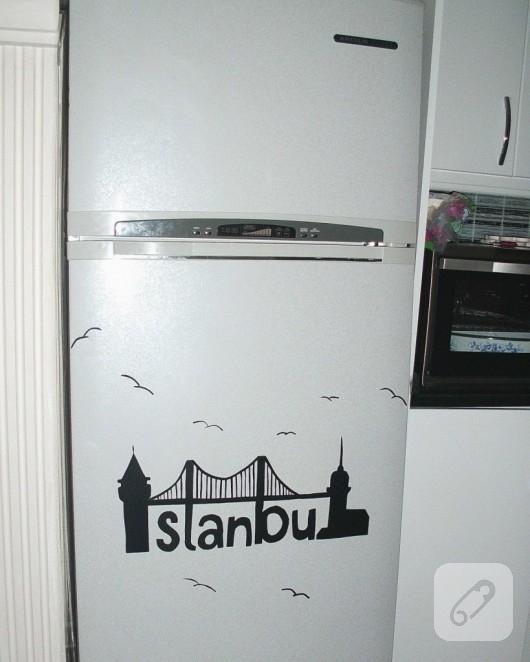 Yapışkanlı kağıt ile buzdolabı süsleme
