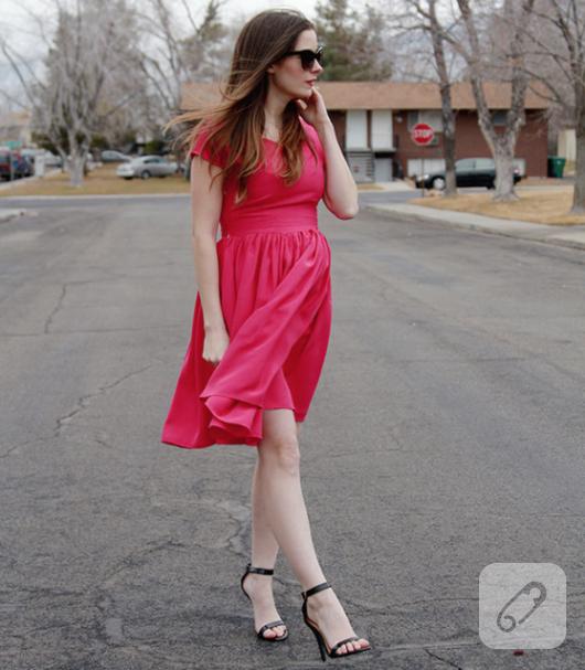 kendinden kollu dökümlü klasik elbise şablonu çıkarma