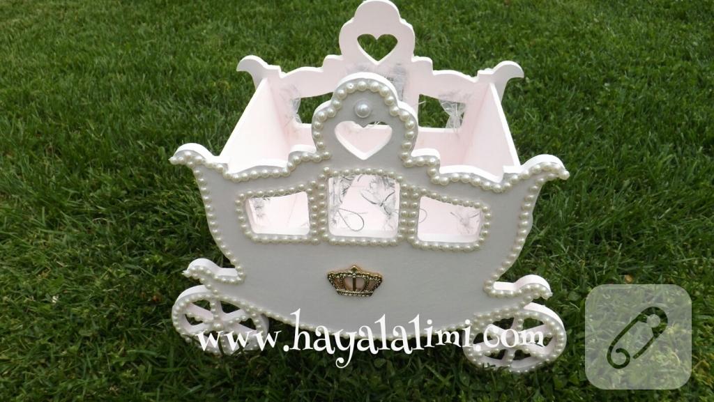 Ahşap Prenses Arabası Bebek şekeri Sepeti 10marifetorg