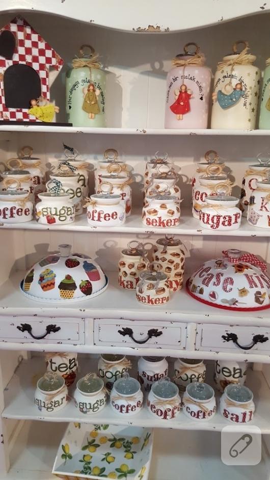 dekoratif-cam-boyama-mutfak-esyalari