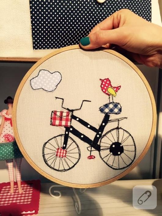 kumas-ve-ipli-kasnak-pano-bisiklet-motifli