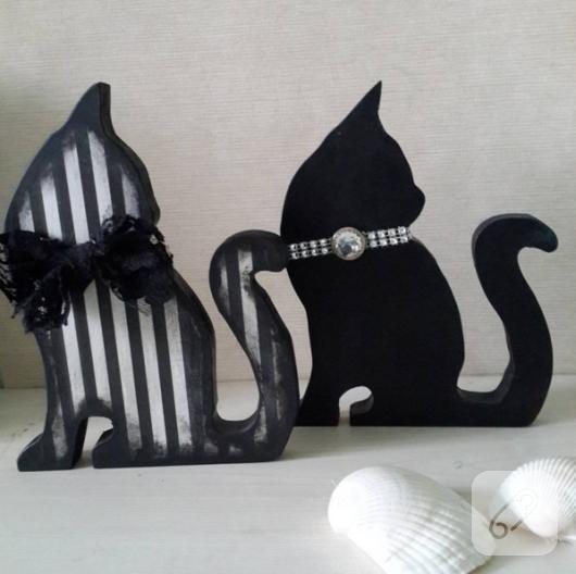 siyah-beyaz-ahsap-boyama-dekoratif-kedi-susler