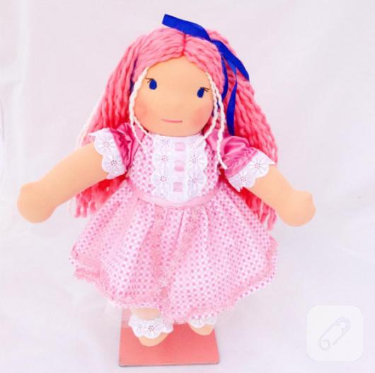 pembe-sacli-bez-bebek-oyuncak-modeli
