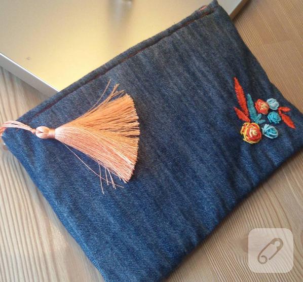 0f5462e92d56c Brezilya nakışı işlemeli kot çanta – 10marifet.org