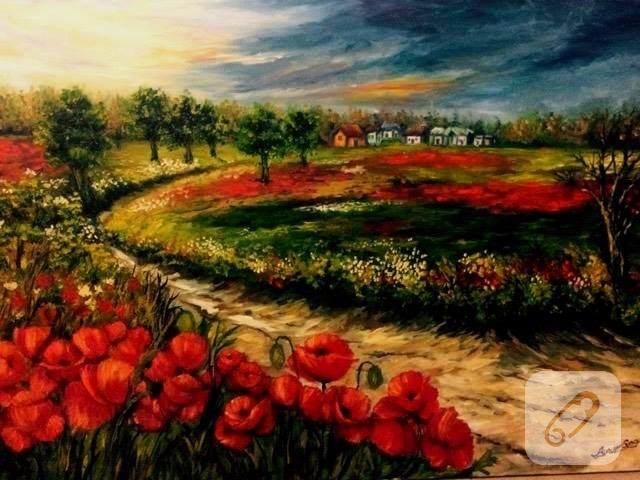 Gelincik Köyü Yağlıboya Tablo 10marifetorg