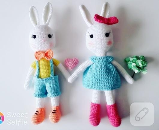 Amigurumi Sarkık Kulaklı Tavşan Tarifi, Amigurumi tavşan yapımı | 435x530