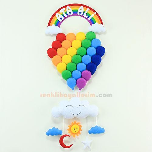 Ali Ata isimli gökkuşağı balonlar bebek odası kapı süsü