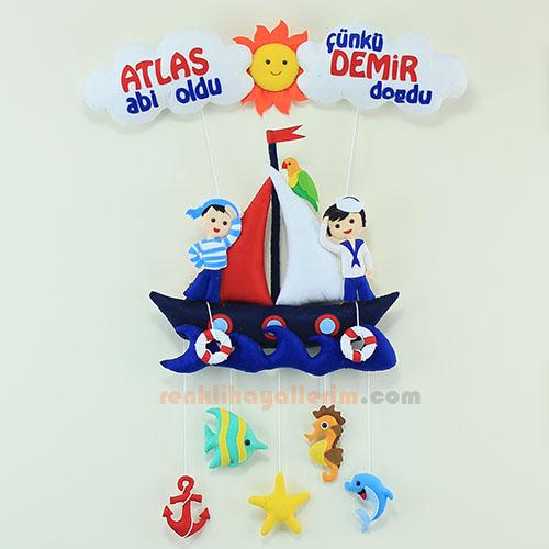 Atlas ve Demir Kardeşler Denizci Bebek Odası Kapı Süsü