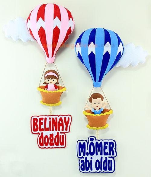 Belinay ve M.Ömer kardeşler sıcak hava balonlu bebek kapı süsü
