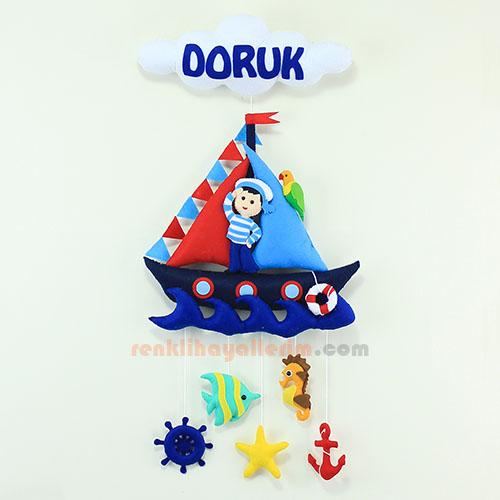 Doruk isimli denizci bebek odası kapı süsü