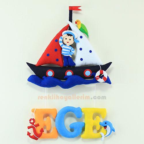 Ege isimli denizci bebek odası kapı süsü