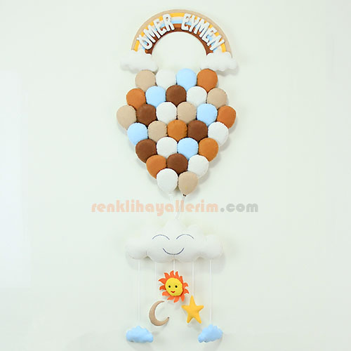 Ömer Eymen isimli kahverengi tonlarda çoklu balonlu bebek odası kapı süsü
