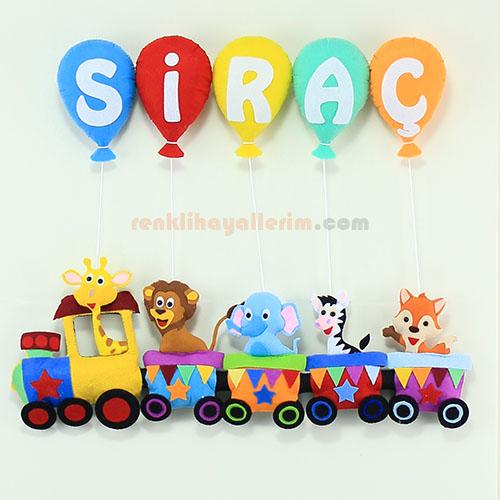 Siraç isimli trenli bebek kapı süsü
