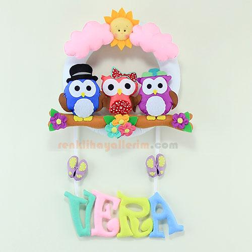 Vera isimli baykuş ailesi kız bebek kapı süsü