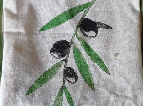 Organik kumaş üzerine tahta baskı