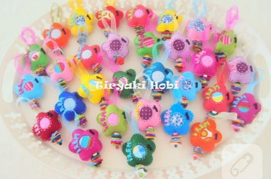 Keçe dolgulu çiçek magnet