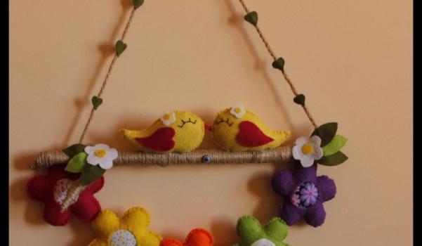 kuşlu çiçekli kapı süsü 1