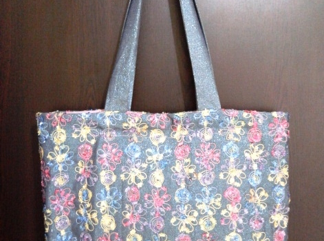 Kot kumaştan astarlı çanta