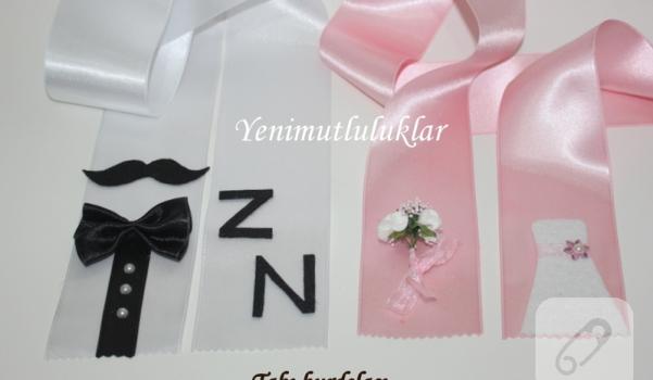 düğün gelin damat takı kurdelası pembe beyaz papyon bıyık gelinlik çiçek bride groom wedding
