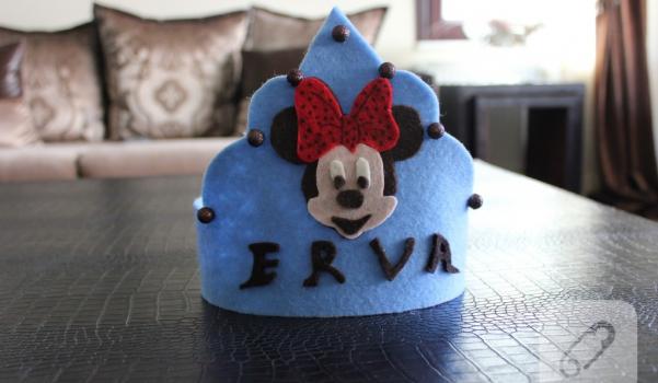 Keçeden Minnie mause Prenses Tacı