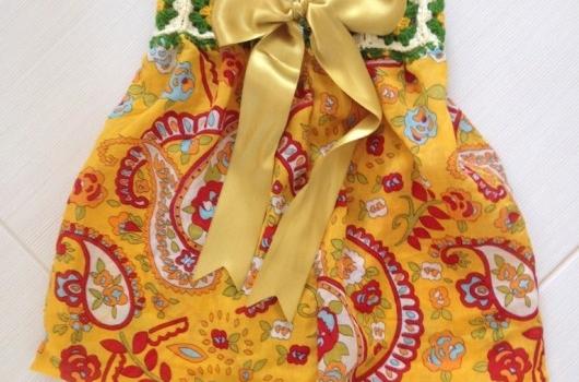 orgu-detayli-sari-bebek-elbisesi