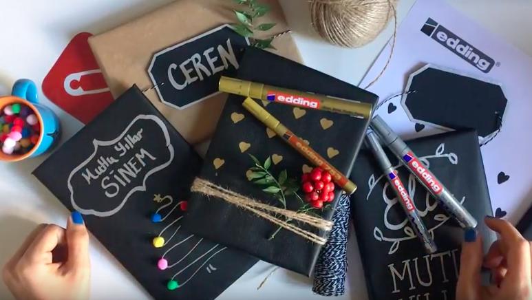 edding kalemleri ile hediye paketi süsleme çalışması