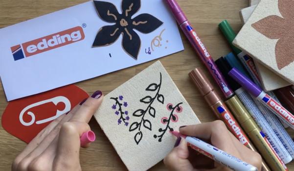 Video: edding kalemleri ile taş bardak altlığı süsleme çalışması