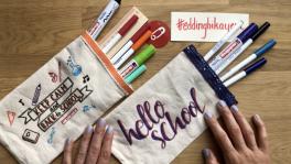 edding ile okula dönüş temalı kumaş kalemlik yapımı