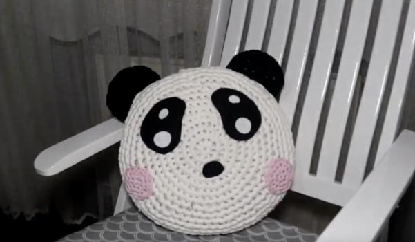 Penye ipten panda yastık yapımı